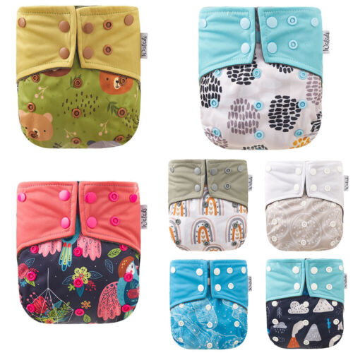 Baby Cloth Nappies Bamboo Charcoal Cute Pattern Design Reusable One Size