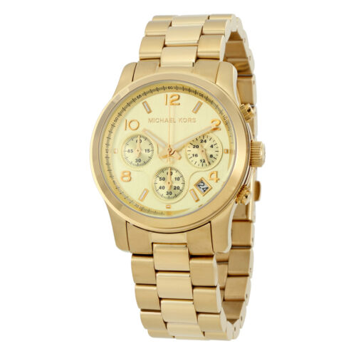 NEW Authentic Michael Kors Runway Stainless Steel Gold Ladies Wrist Watch MK5055