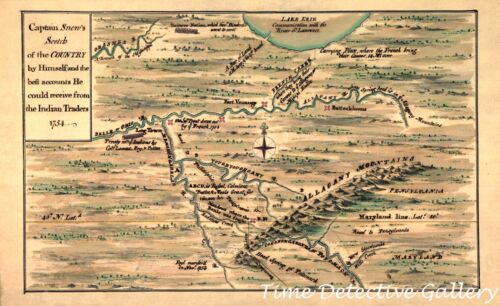 Colonial Map of Western Pennsylvania & Maryland - 1754 - Poster in 5 Sizes
