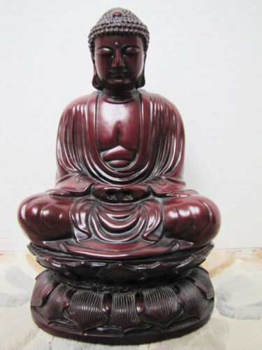 Vintage Chinese Red Buddha Statue Figurine. HEAVY 8 lbs