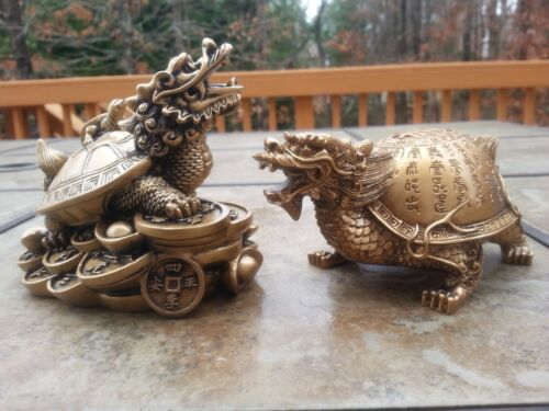 1Pair Chinese Feng Shui statue Dragon turtle statues