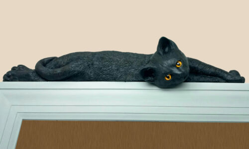 Black Lazy cat figurine door topper with yellow eyes (silhouette)