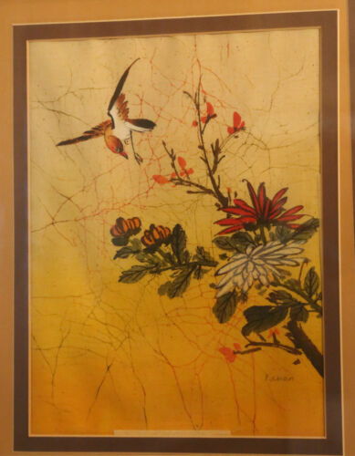 China Chinese Floral Avian Acrylic on Batik Painting by P. Chan ca. 20th c.