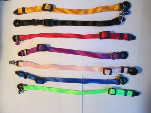 "Adjustable Breakaway Nylon Cat / Kitten Collars / Bell  4""-11"""