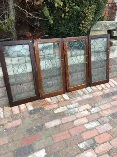 Sg 1147 Set Of 4 Matching Antique Leaded Glass Cabinet Doors Swirly Design 18""