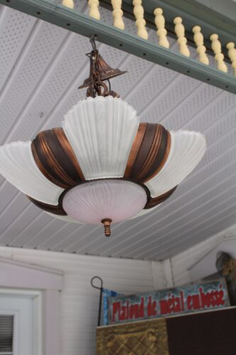 ANTIQUE ART DECO SLIP SHADE CEILING LIGHT FIXTURE CHANDELIER 6 SHADES SWITCH