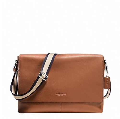 NWT Coach F54792 Charles Messenger in Smooth Dark Saddle Leather