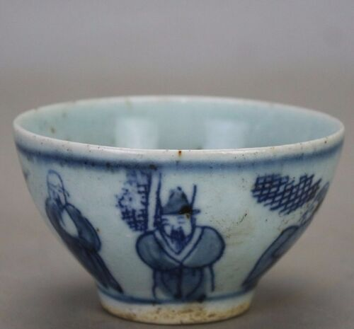 old chinese beautiful Ming dyn Wanli blue and white porcelain tea cup a08