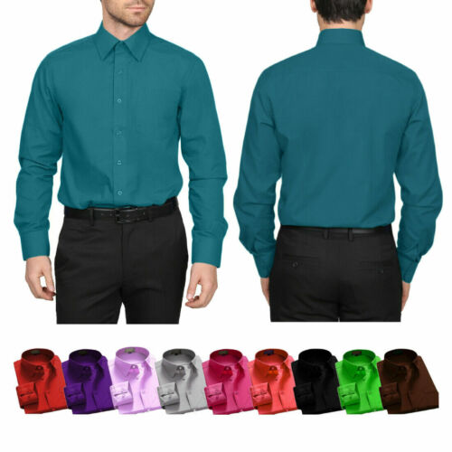 Berlioni Italy Men's Regular Convertible Cuff Solid Colors Dress Shirts