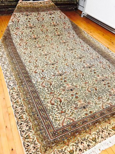 Exquisite Antique 1940's Wool Pile Muted Colors Hereke Area Rug 7x10ft