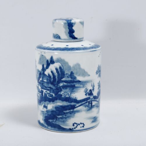 Chinese Blue & White Porcelain Tea Caddy Decorated Pastoral Scenes Box