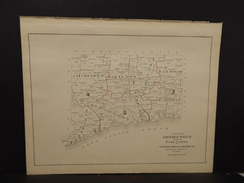 Conneticut State Map Senatorial  Congressional Distric, 2Single pages 1893 R4#80