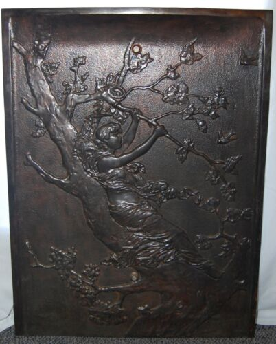 "Antique Art Nouveau ""LADY IN A TREE"" Cast Iron Summer Fireplace Cover Screen"