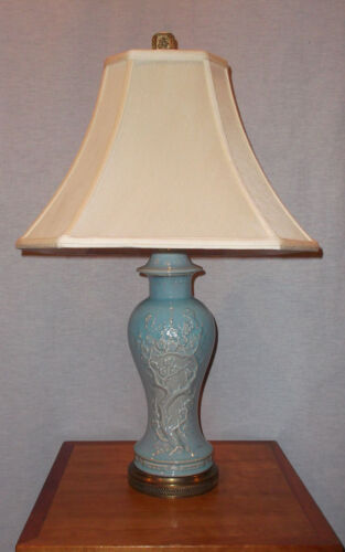 "ORIENTAL GINGER JAR SHAPE SEA FOAM GREEN  LAMP W/SILK SHADE & FINIAl 28"" TALL"