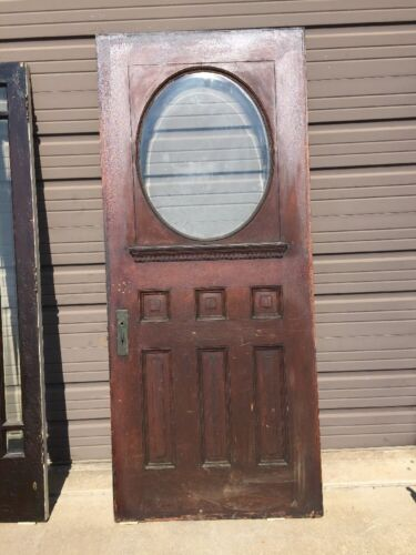 "An 14 Antique Quartersawn Oak Beveled Oval Entrance Door 36"" X 83.75"