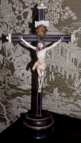 Antique French 19th Century Crucifix Hand Carved Wooden Christ Santo France
