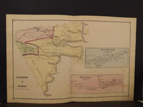 Pennsylvania, Carbon County Map 1875, Lausanne & Lehigh, Double Page, W1#08