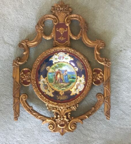 Limoges French Gilt Wood Frame Porcelain Portrait Plate Plaque Wall Charger