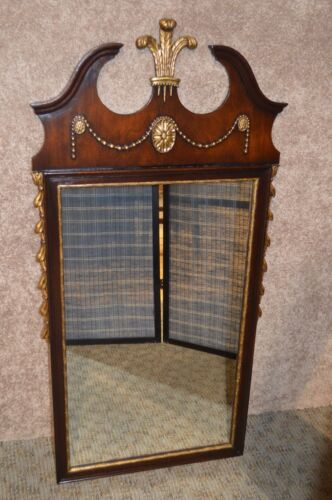 Vintage Kindel Solid Mahogany Wall Mirror w/Price of Wales Design & Gold Accents