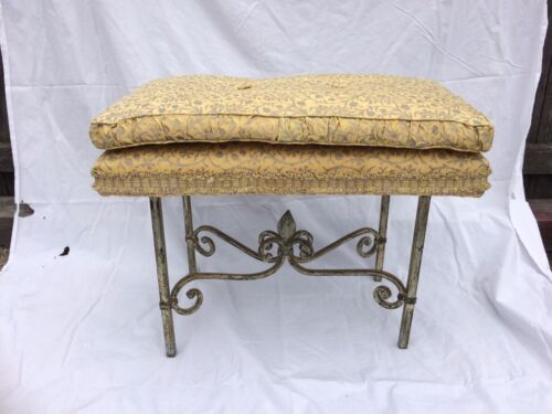 Vintage Fortuny Granada upholstered iron  bench great patina