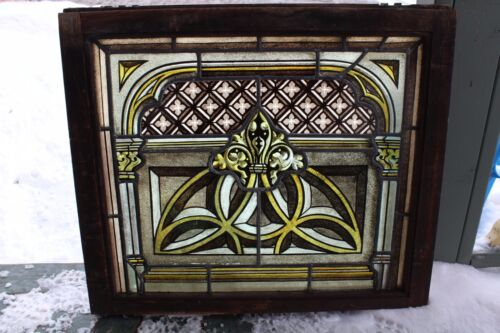 VICTORIAN ANTIQUE PAINTED AND FIRED  STAINED GLASS WINDOW OAK FRAME EASTLAKE