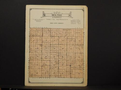 Minnesota Sibley County Map Moltke Township 1926 Y7#56
