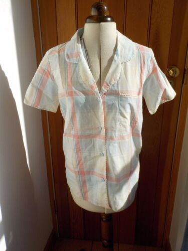CYBER JAMMIES PERFECT PASTELS CHECKED COTTON BUTTON FRONT PYJAMA TOP UK 8 BNWT