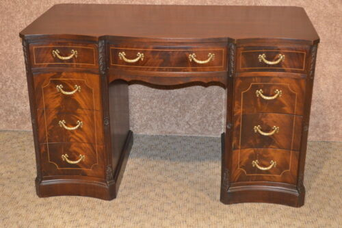 Vintage Traditional Style Carved Inlaid Mahogany Knee Hole Desk w/Finished Back