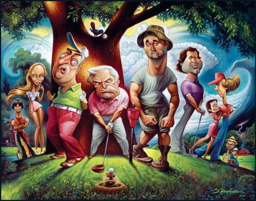"""A Tribute To Caddyshack Fine Art Print 22"""" by 28"""" By Artist David O'keefeArt Prints - 360"""
