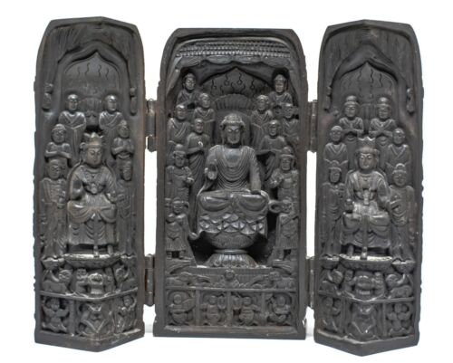 Vintage Chinese Folding Triptych Buddha ~  Well carved ~