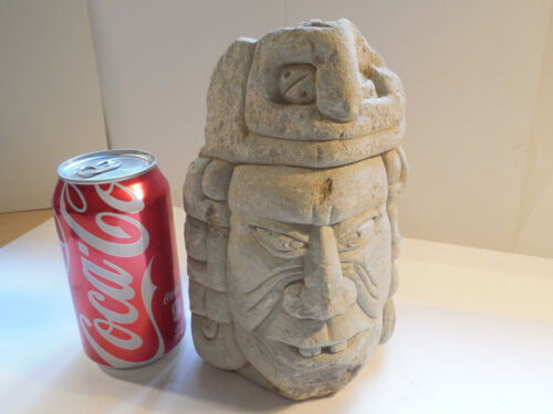 Mayan Huge Stone Head Pre-Columbian Archaic Ancient Artifact Olmec Toltec Aztec