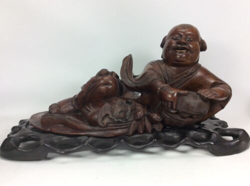"""Fine Chinese Hardwood Carved Buddha Basket Bats Statue Sculpture Stand-15"""" Long"""