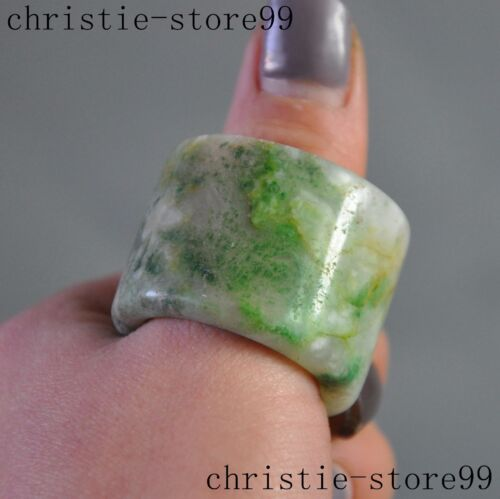 Chinese dynasty palace old jade Pure Hand-carved Rings ring Pull finger statue