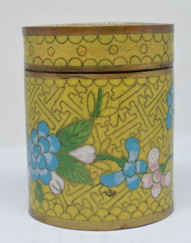 Antique Chinese Cloisonne Tobacco Jar ~ 3 Inches Tall  ~
