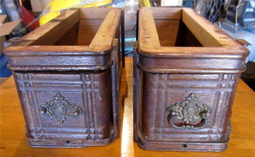 VINTAGE  DRAWERS FROM A 1895 SINGER TREADLE SEWING MACHINE CABINET 2 DRAWERS OAK