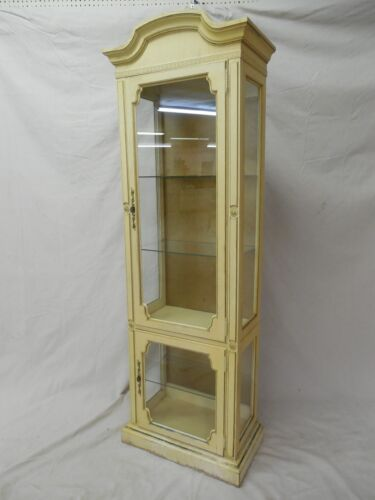 "Hollywood Regency Paint Decorated 2 Door Curio Cabinet 79""H x 26""W x 14.5""D"