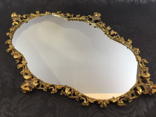 "Vintage 26"" Rococo Solid Brass Ornate Frame Italian Hollywood Regency Antique"