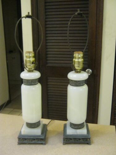 2- MID CENTURY MODERN MARBLE / ALABASTER LAMPS EXC. CONDITION