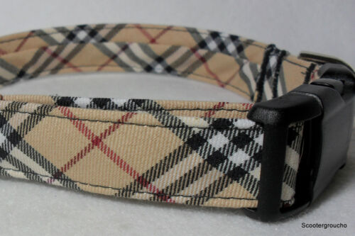Classic Check Plaid Handcrafted Dog Collar -Great Look- All Sizes- Made USA