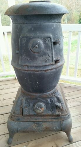 Antique Pot Belly Parlor Stove BIG JOE Hanks Stove & Range Co Rome GA - RARE