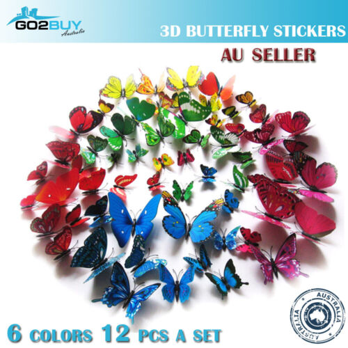 12PCS 3D Butterfly Wall Removable Sticker Decals Kids Art Nursery Decor Magnets <br/> Good quality, 6 colors, super fast ship from Melbourne