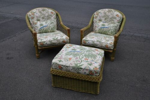 Pair Of Indoor Wicker Arm Chairs With Ottoman