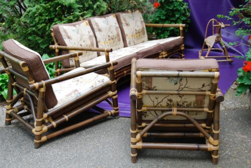 Vintage CALIF ASIA sofa, 2 chairs, rattan bamboo outdoor patio set 5 pc DARK EX