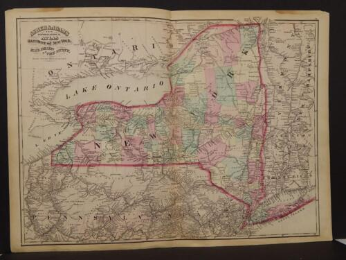 New York State Map  Railroad  Double Page 1870  Y9#55