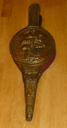 Vintage Antique Fireplace Fire Bellows puffer Wood Leather Metal Fast Shipping!