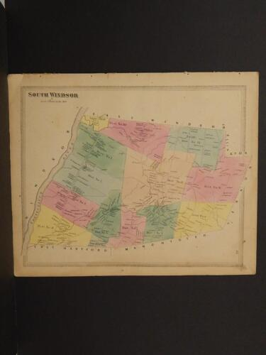 Connecticut Hartford County Map South Windsor Township 1869 J8#40