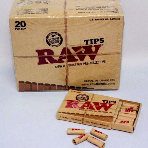 Raw Tip Natural Unrefined Pre-Rolled Tips~Full Box~21 Per Box~20 Packs~420 Total