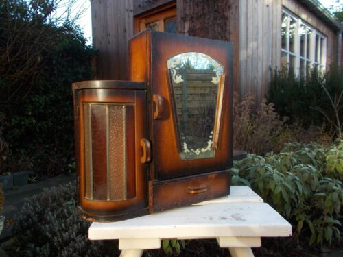 Apothecary Wall Curiosity Cabinet, Etched Mirror Fire Stained Glass Art Deco