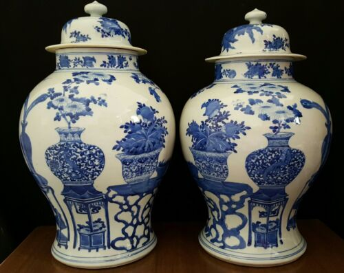 "VERY LARGE 19th C. KANGXI Blue & White Chinese Lidded Jars 17"" ESTATE FIND Vases"