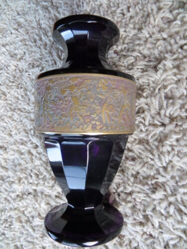 Art Deco 1920s. Moser Amethyst Crystal Vase Brass Gilt Cameo Frieze Signed